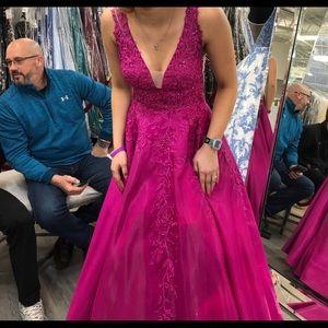 Pink floral ellie wilde prom dress